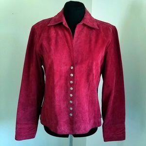 Live a Little Dark Red Genuine Suede LeatherJacket